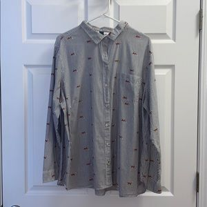 Old Navy fox 🦊 button down shirt
